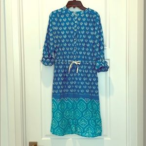 Blue and Turquoise Floral Print Dress